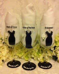 BRIDESMAID DRESS GLASSES 3 glasses