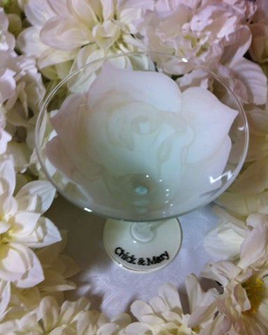 WHITE WEDDING ROSE MARTINI GLASS