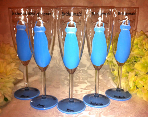 BLUE BRIDESMAID DRESS GLASSES                                                          5 glasses