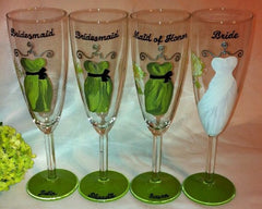 BRIDESMAID DRESS CHAMPAGNE FLUTES 4 GLASSES