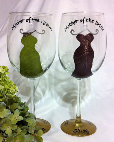 MOTHER OF THE BRIDE & MOTHER OF THE GROOM WINE GLASSES