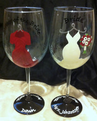MOTHER OF THE BRIDE & GROOM WINE GLASSES