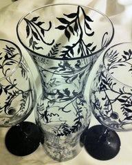 TINY VINE CARAFE AND WINE GLASS SET of 2 glasses