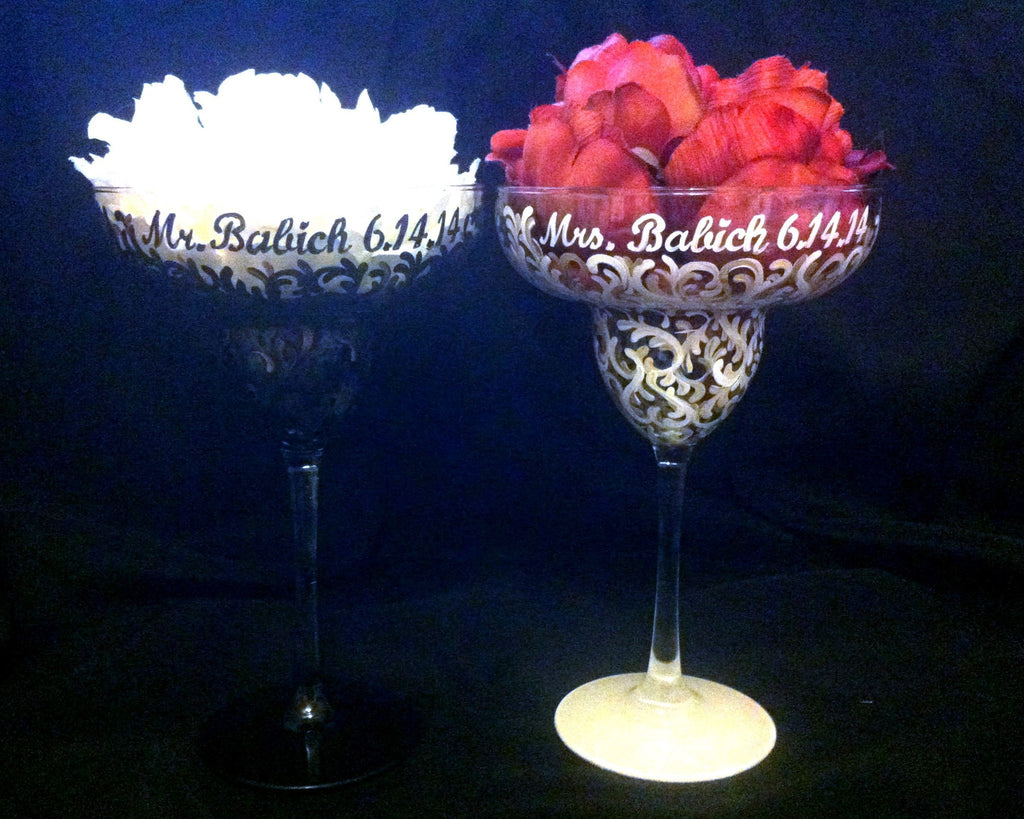 BLACK & WHITE SWIRL MARGARITA GLASSES