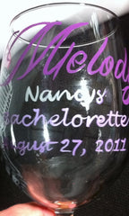 PERSONALIZED BACHELORETE WINE GLASSES 6 GLASSES