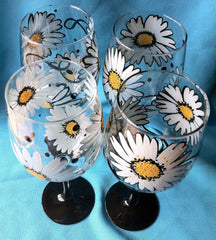 DAISY SWIRL WINE GLASS Set of 4 glasses