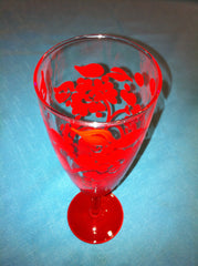 PINK DAMASK WINE GLASS