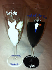 PERSONALIZED BRIDE & GROOM GLASSES