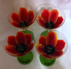 SUNSET TULIP WINE GLASS Set of 4 glasses