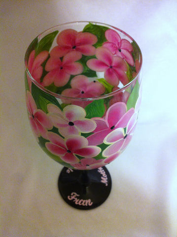 PINK PLUMERIA WINE GLASS