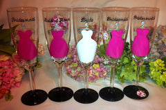 PINK BRIDESMAID DRESS CHAMPAGNE FLUTES
