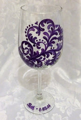 PURPLE HEART SWIRL WINE GLASS