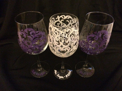 HEART SWIRL WINE GLASSES SET of 3