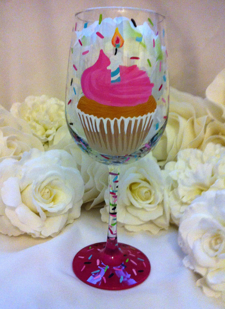 HAPPY 25TH BIRTHDAY CUPCAKE WINE GLASS