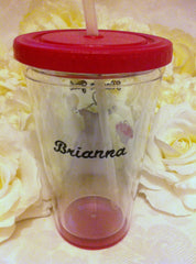 3 FLOWER GIRL PERSONALIZED PLASTIC TUMBLERS