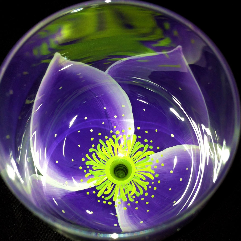 PURPLE & LIME GREEN WEDDING FLOWER WINE GLASS