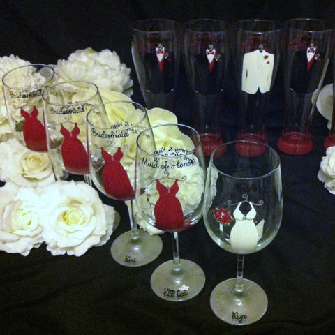 BRIDAL PARTY GLASSES 9 GLASSES