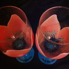 PEACH & TEAL WEDDING FLOWER GLASSES