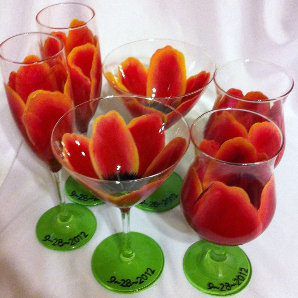 SUNSET TULIP... Choose from a Variety of Glassware...  Set of 6 glasses