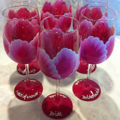 STARGAZER LILY WINE GLASSES  Set of 6