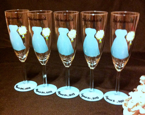 TIFFANY BLUE BRIDESMAID DRESS GLASSES 5 glasses