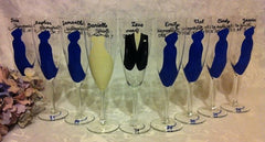 BRIDAL PARTY FLUTES 9 glasses