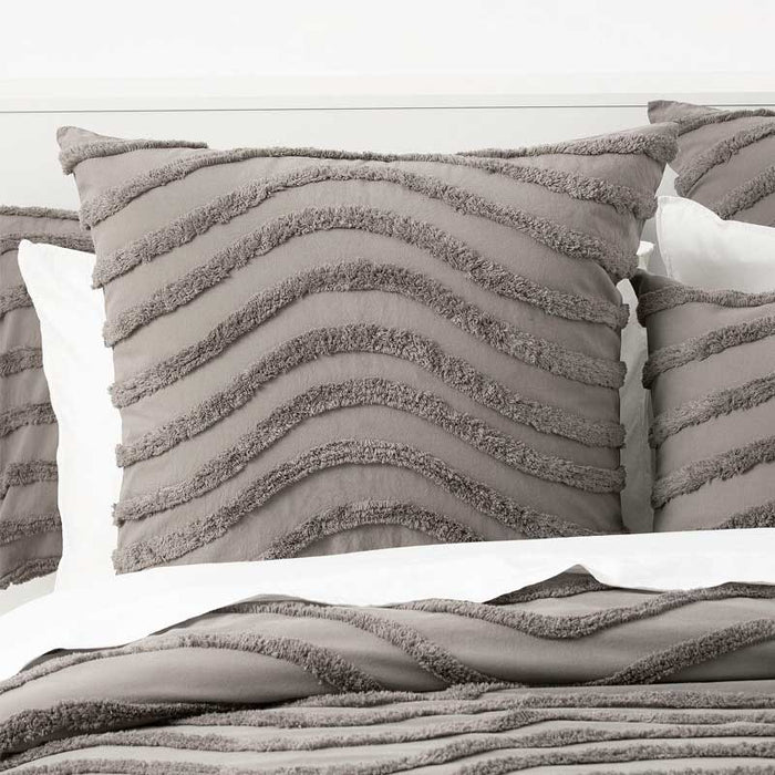 Cloud Linen Wave Cotton Chenille Taupe Grey Vintage Washed European Pillowcase