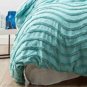 Cloud Linen Wave Cotton Chenille Aqua Vintage Washed Quilt Cover Set - Manchester Factory