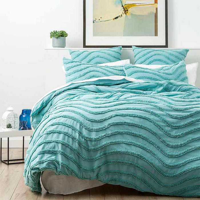 Cloud Linen Wave Cotton Chenille Aqua Vintage Washed Quilt Cover Set
