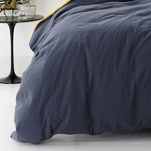 Park Avenue Vintage Washed Cotton Blue Quilt Cover Set - Manchester Factory