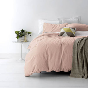 Park Avenue Vintage Washed Cotton Blush Quilt Cover Set - Manchester Factory (5313140621356)