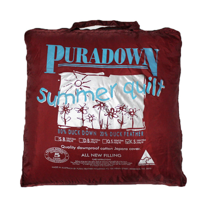 Puradown Summer Weight 80% Duck Down 20% Duck Feather Quilt