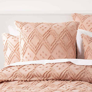 Renee Taylor Medallion Cotton Vintage Washed Blush European Pillowcase - Manchester Factory