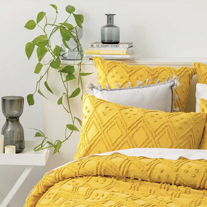 Park Avenue Medallion Cotton Vintage Washed Misted Yellow European Pillowcase