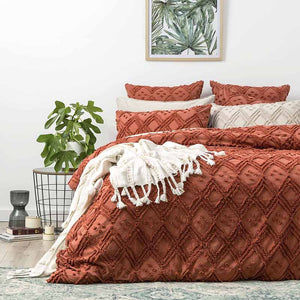 Renee Taylor Medallion Cotton Vintage Washed Tufted Auburn Quilt Cover Set - Manchester Factory