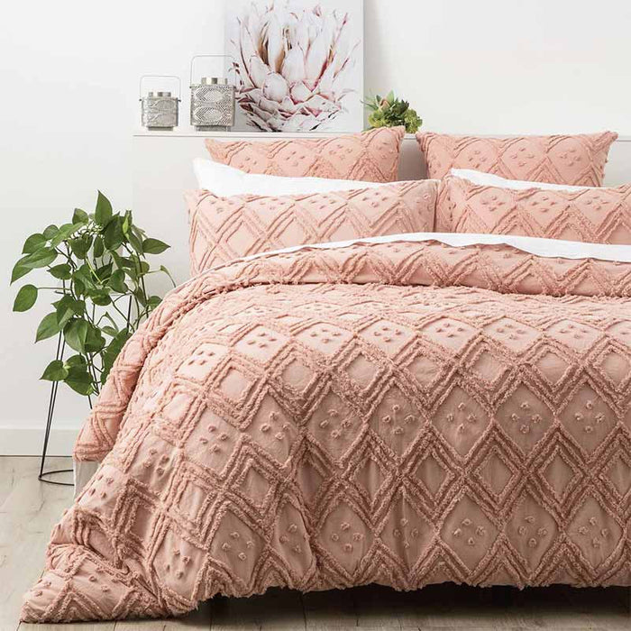 Renee Taylor Medallion Cotton Vintage Washed Tufted Blush Quilt Cover Set