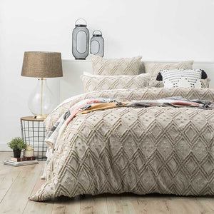 Renee Taylor Medallion Cotton Vintage Washed Tufted Stone Quilt Cover Set - Manchester Factory