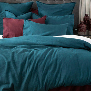 Renee Taylor Stone Washed 100% French Linen Evergreen Quilt Cover Set