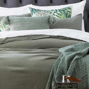 Renee Taylor Solana Washed Cotton Textured Fern European Pillowcase - Manchester Factory