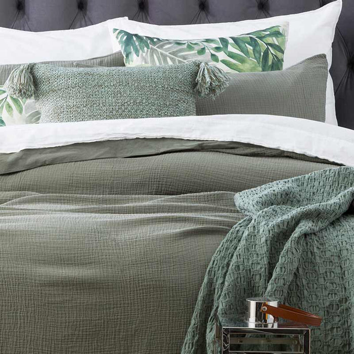Renee Taylor Solana Washed Cotton Textured Fern European Pillowcase