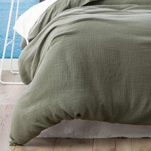 Renee Taylor Solana Washed Cotton Textured Fern Quilt Cover Set - Manchester Factory (5353728573484)