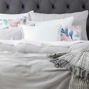 Renee Taylor Solana Washed Cotton Textured Silver Quilt Cover Set - Manchester Factory