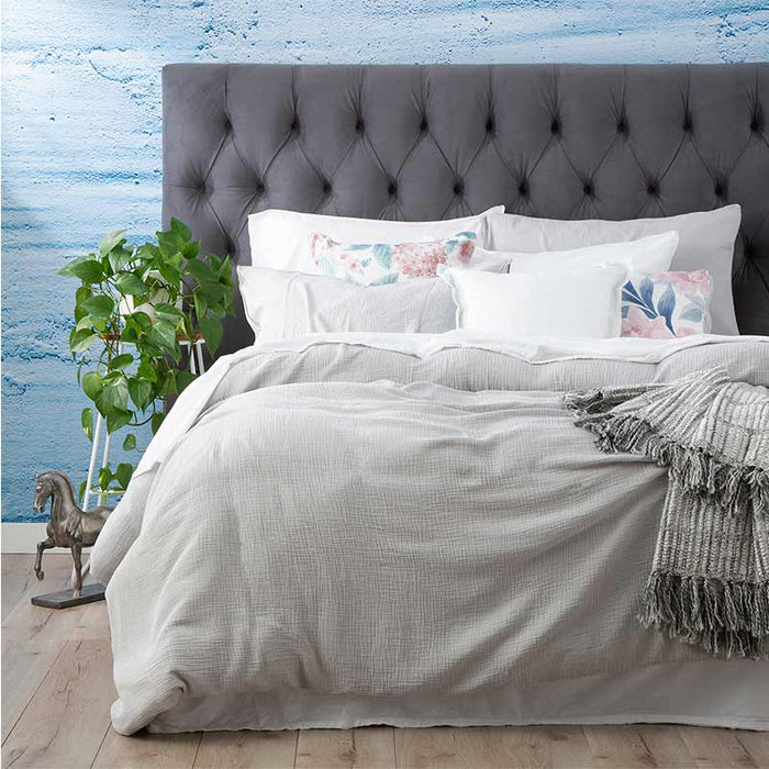 Renee Taylor Solana Washed Cotton Textured Silver Quilt Cover Set