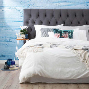 Renee Taylor Solana Washed Cotton Textured White Quilt Cover Set - Manchester Factory
