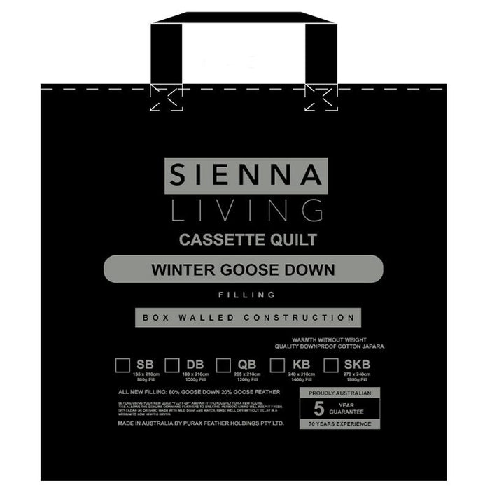 Sienna Living 80% Goose Down 20% Goose Feather Quilt