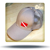 Diver down flag trucker hat khaki