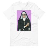 nun smoking artwork on white t-shirt