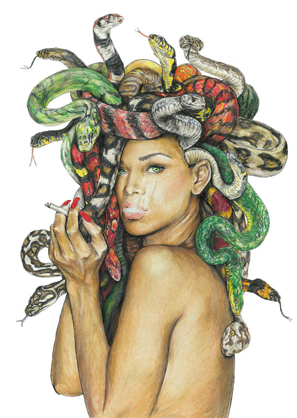 medusa art print, medusa poster, original artwork, gorgon art, feminist art, snake hair