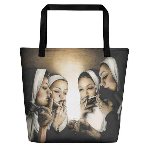 large printed tote with art of four nuns smoking in a dark room