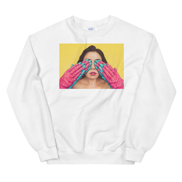 white crewneck sweatshirt with art of gloved hand covering lady's eyes on yellow background